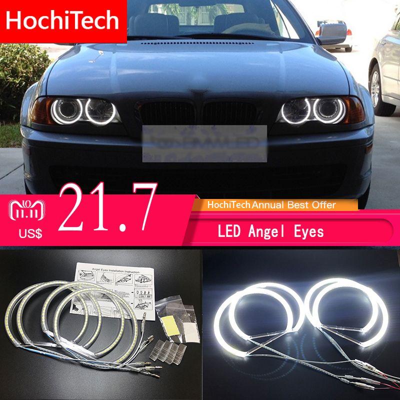 HochiTech for BMW E36 E38 E39 E46 projector Ultra bright SMD white LED angel eyes 2600LM 12V halo ring kit daytime light 131mmx4