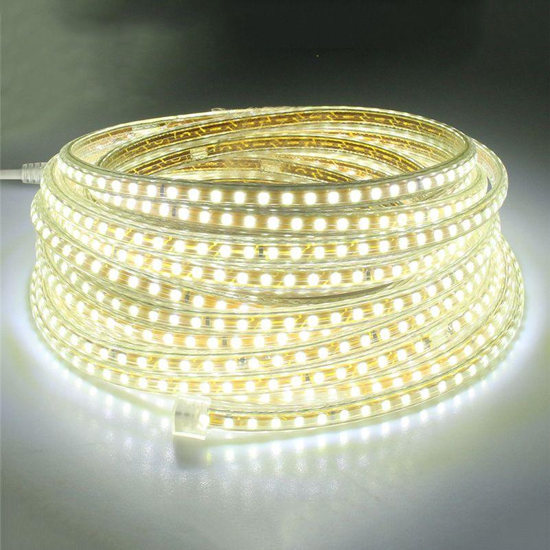 SXZM 220 V led bande lumière SMD2835 120led/M Blanc/blanc Chaud led bande lumière avec power UE plug