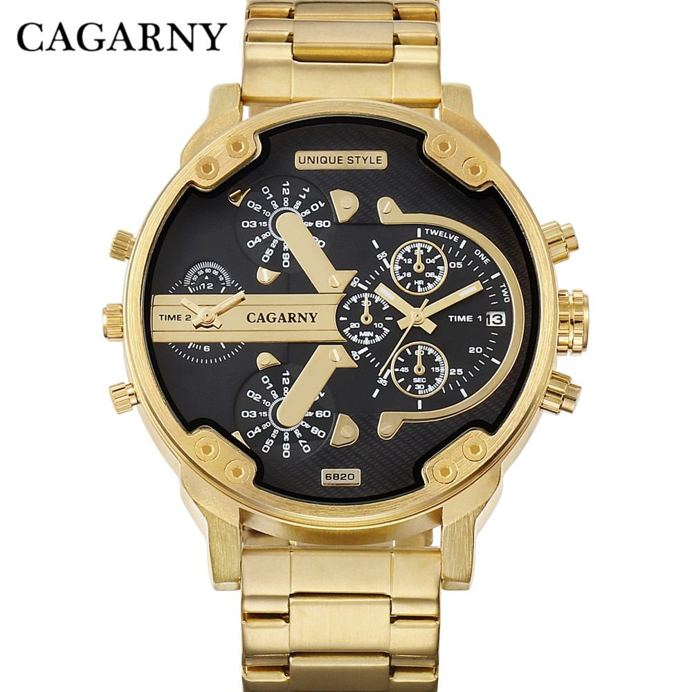 CAGARNY Brand Design Man Fashion Luxury Gold Steel Bracelet Strap Quartz Wristwatch Business Male <font><b>Gifts</b></font> Watch relogio masculino