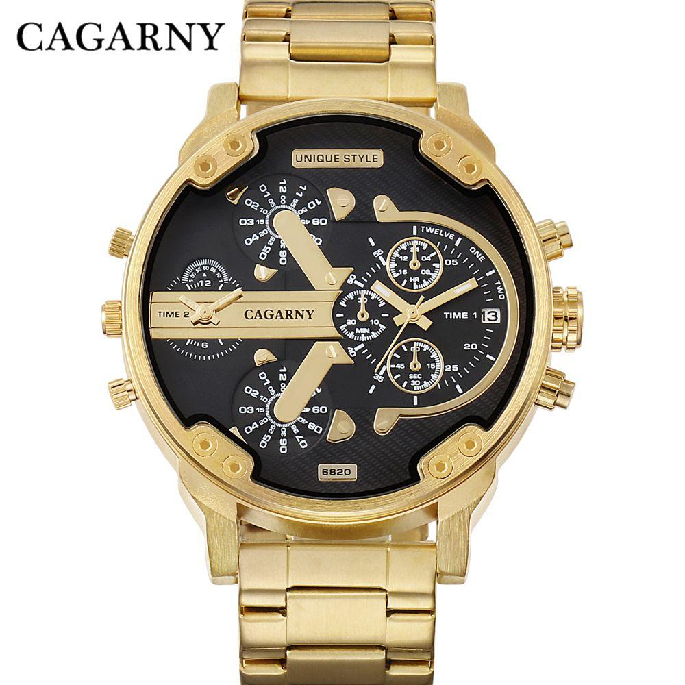 CAGARNY Brand Design Man Fashion Luxury Gold Steel <font><b>Bracelet</b></font> Strap Quartz Wristwatch Business Male Gifts Watch relogio masculino