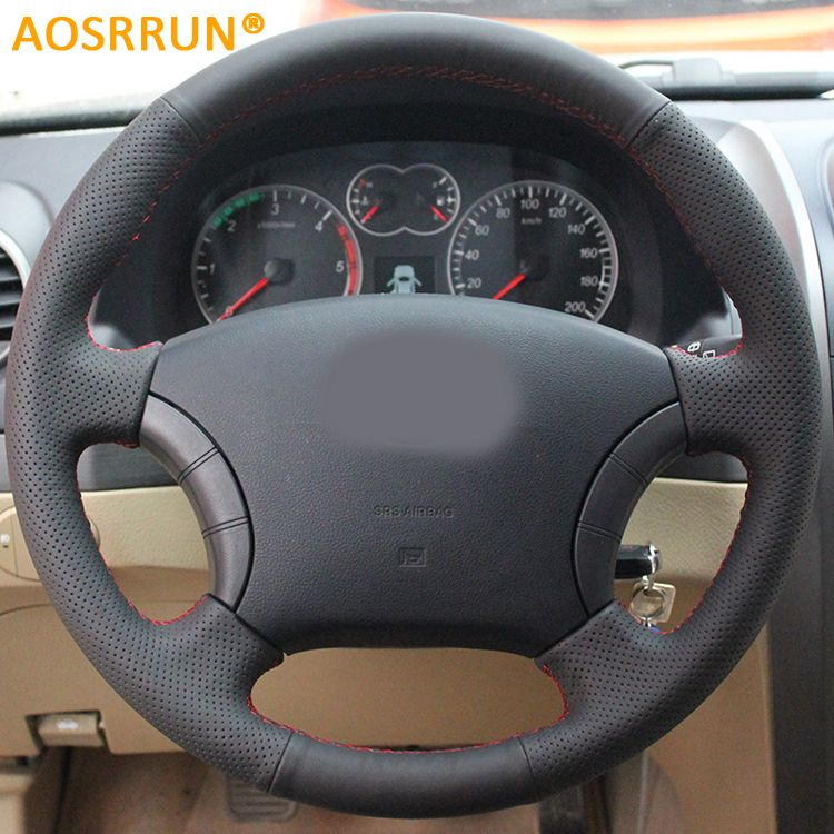 AOSRRUN Leather Hand-stitched Car Steering <font><b>Wheel</b></font> Covers For Great Wall Haval Hover H3 H5 Wingle 3 Wingle 5 Car accessories