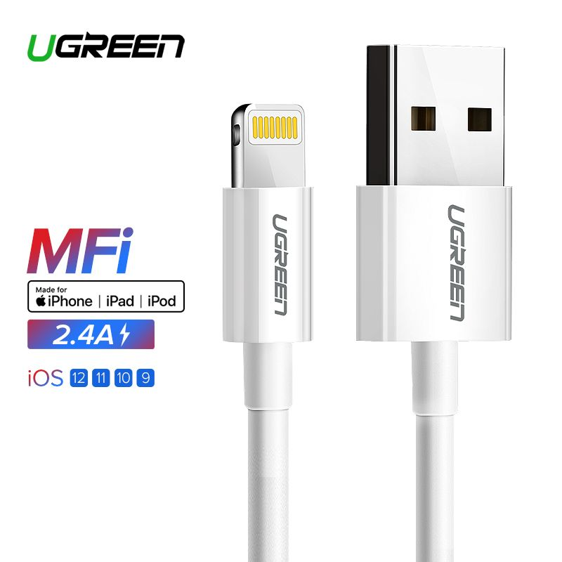 Ugreen USB Cable for iPhone Xs Max XR 2.4A MFi Lightning USB Fast Charging Cable for iPhone X 8 7 Mobile Phone USB Charger Cord