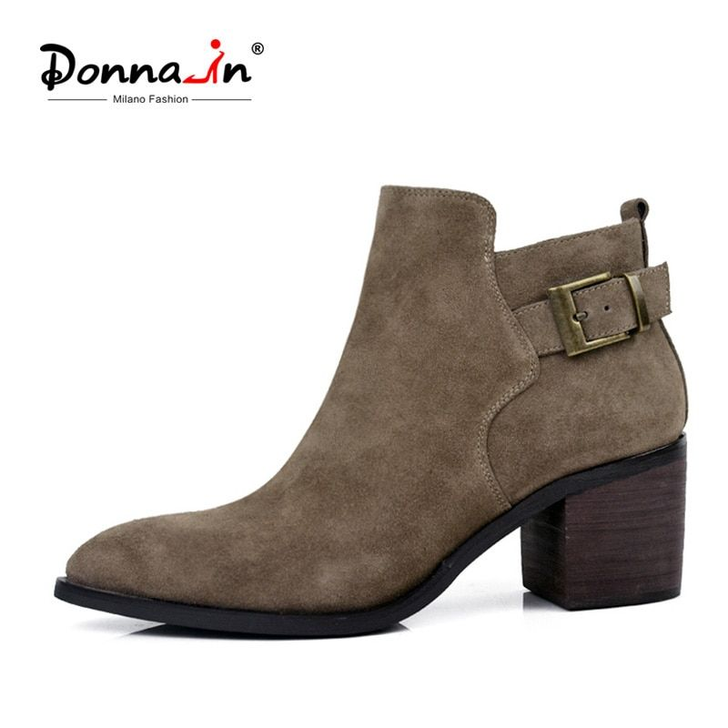 Donna-in genuine leather women boots natural calf leather ankle boots high heel hand-made ladies shoes winter boots clearance
