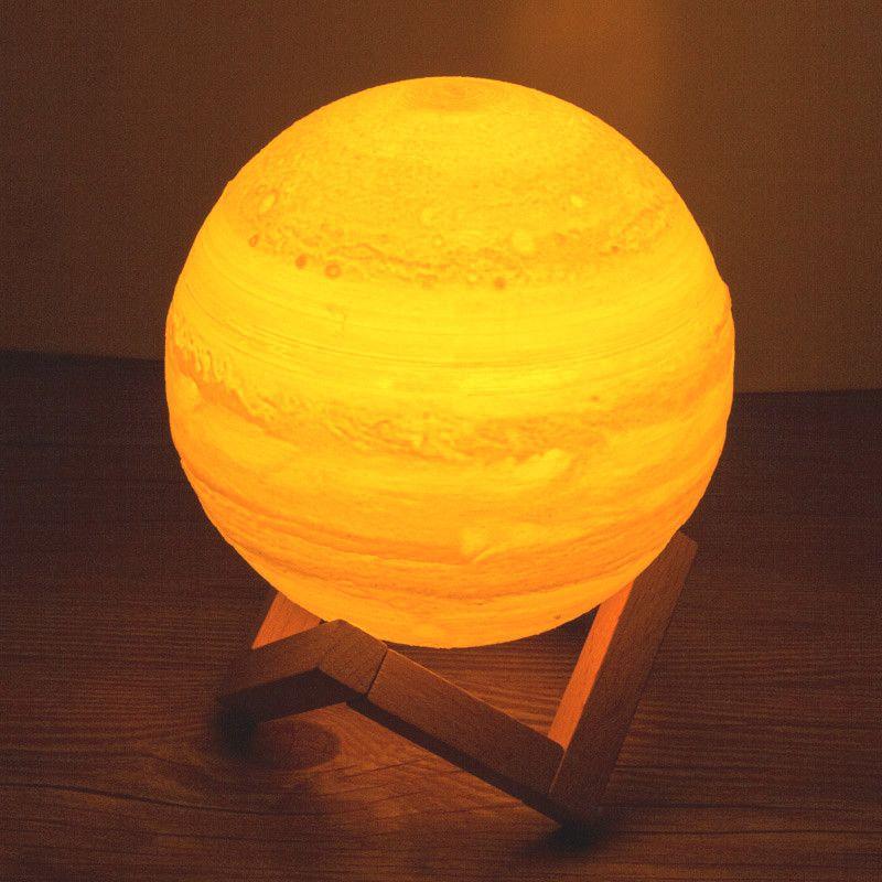 USB Rechargeable impression 3D Jupiter lune Luminaria lampe table bureau rêve nuit lumière tactile chambre 2 couleur décor ampoule créative