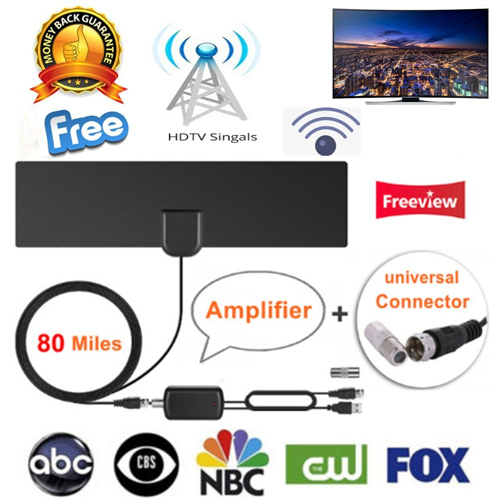 80 miles Indoor Digital HD Amplified TV Antenna Free Aerial TV Fox DVB-T2 For live local channels Updated Version TV DVB-T Surf