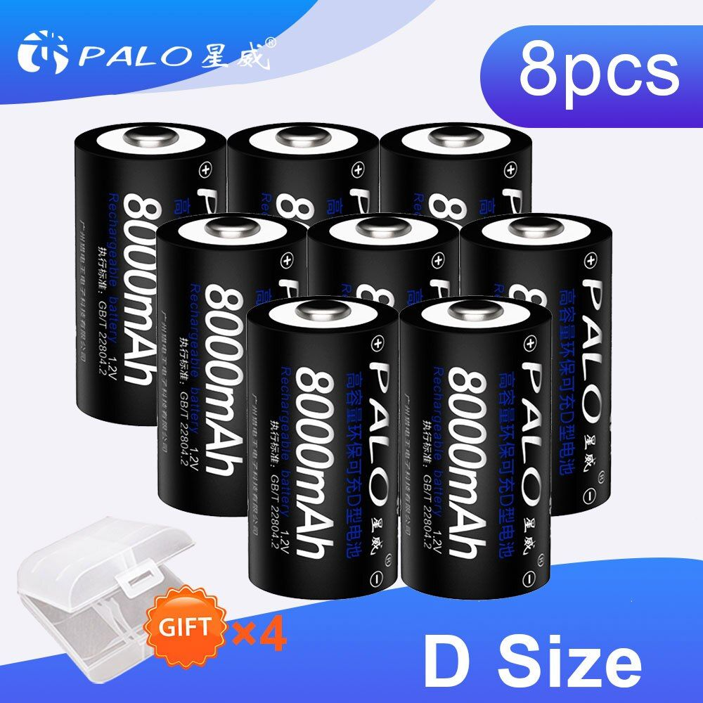 PALO 8 pièces 8000 mAh 1.2 v D Taille Batterie Rechargeable de Grande Capacité Pour Lampe De Poche Jouets Radio Réfrigérateur Avec 4 pièces Coffres De Batterie