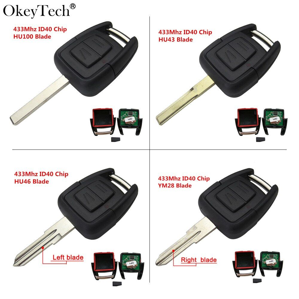 Okeytech 2 Button Remote Key Fob 433Mhz ID40 Chip For Opel Vauxhall Astra Vectra Zafira Omega Frontera HU46 Left Uncut Blade