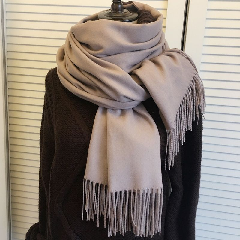 200cmx70cm Winter Oversize Scarves Simple Fashion Warm Blanket Unisex Solid Wraps Cashmere Scarf Shawl Pashmina 16 colors