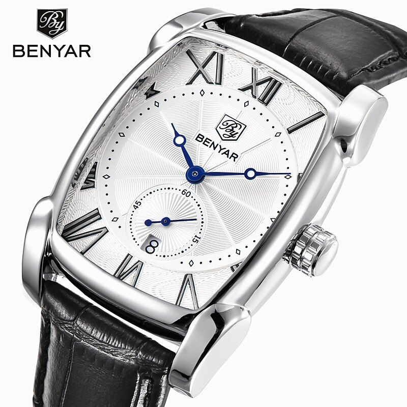 Benyar 2017 Luxury Brand Quartz Mens Watches Waterproof Military Leather Men Watches Clock Male Erkek Kol Saati Relogio