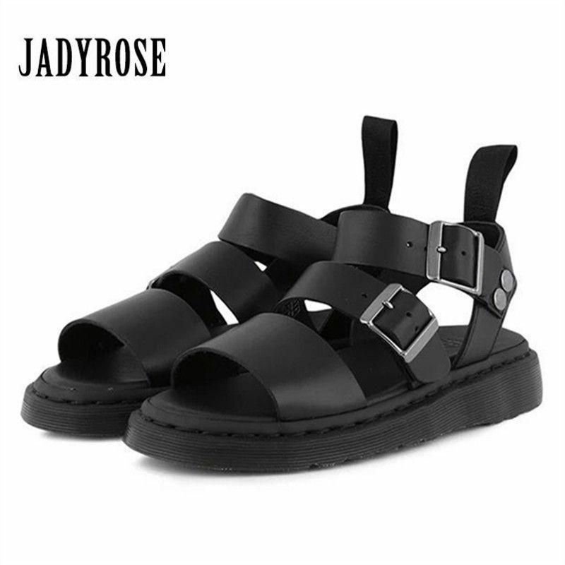 Jady Rose Punk Style Women Gladiator Sandals Black Flat Shoes Woman Casual Thick Heel Beach Flats Sandalias Mujer 2018 Summer