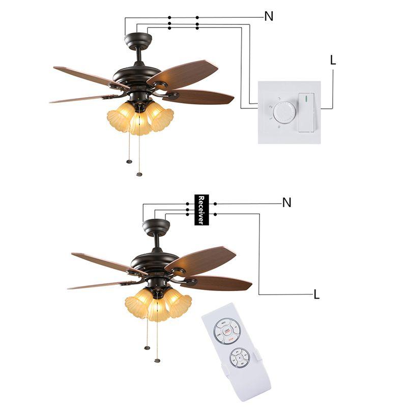 Ventilateur de plafond télécommande universelle contrôleur commutateur rf récepteur avec télécommande peut lumière et contrôler la vitesse et manuel interrupteur mural