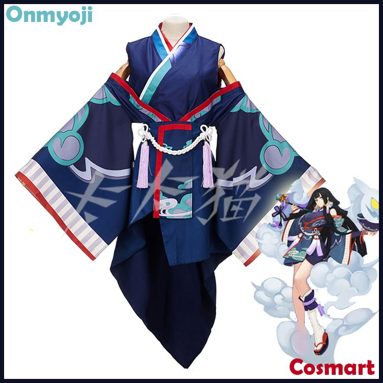 [STOCK]Kimono+Wig+Rings Game Onmyoji figure Ghost Smoke Uniform Halloween Cosplay costumes NEW 2018 FREE SHIP