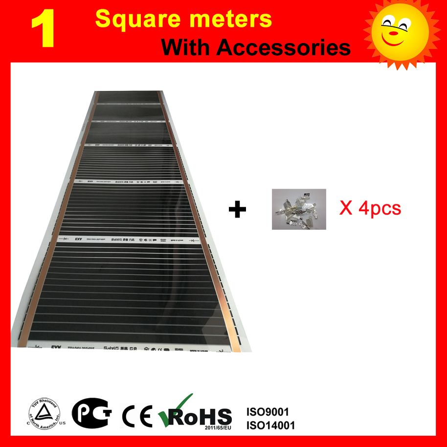 1 Square meter far Infrared Heating film, AC220V floor heating film with 4 pieces connecting clips