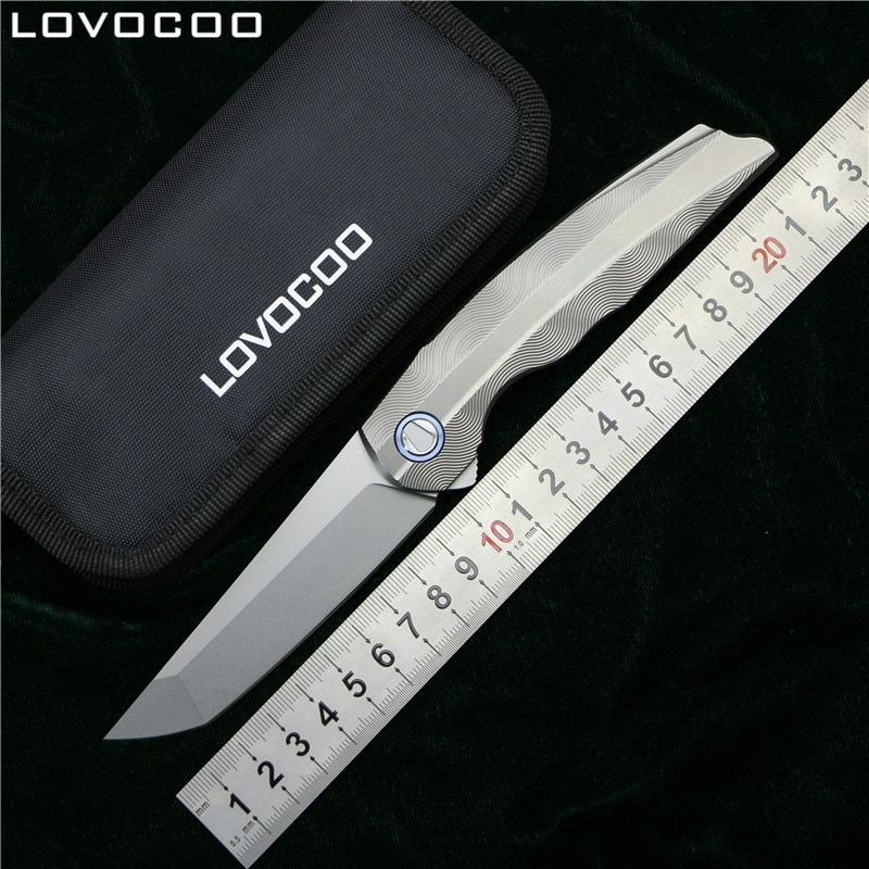 LOVOCOO RUS RFT Flipper Folding knife MRBS D2 blade Titanium handle Tactical hunting outdoor camping survival Knives EDC tools