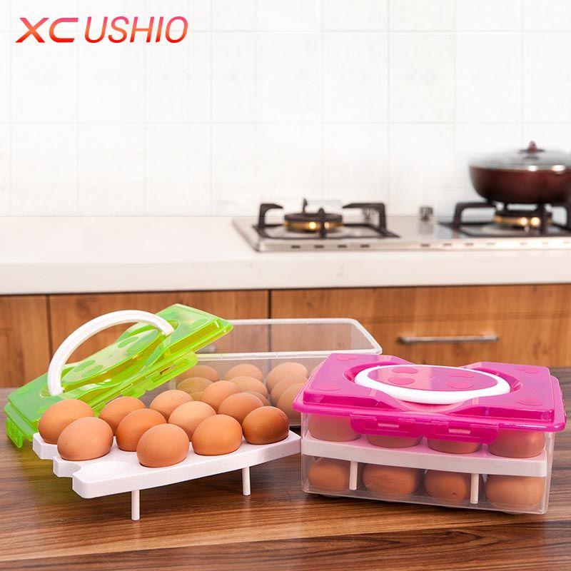 Двойной Слои Пластик яйцо поле Кухня холодильник 24 Сетка яйцо контейнер для хранения Box/держатель/Чехол Еда резким Организатор