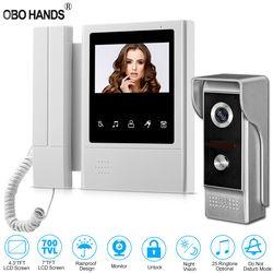 4.3'' TFT Color Wired Video Intercom Door Phone Doorbell System for home 700TVL IR Night Vision Outdoor Camera Metal Waterproof