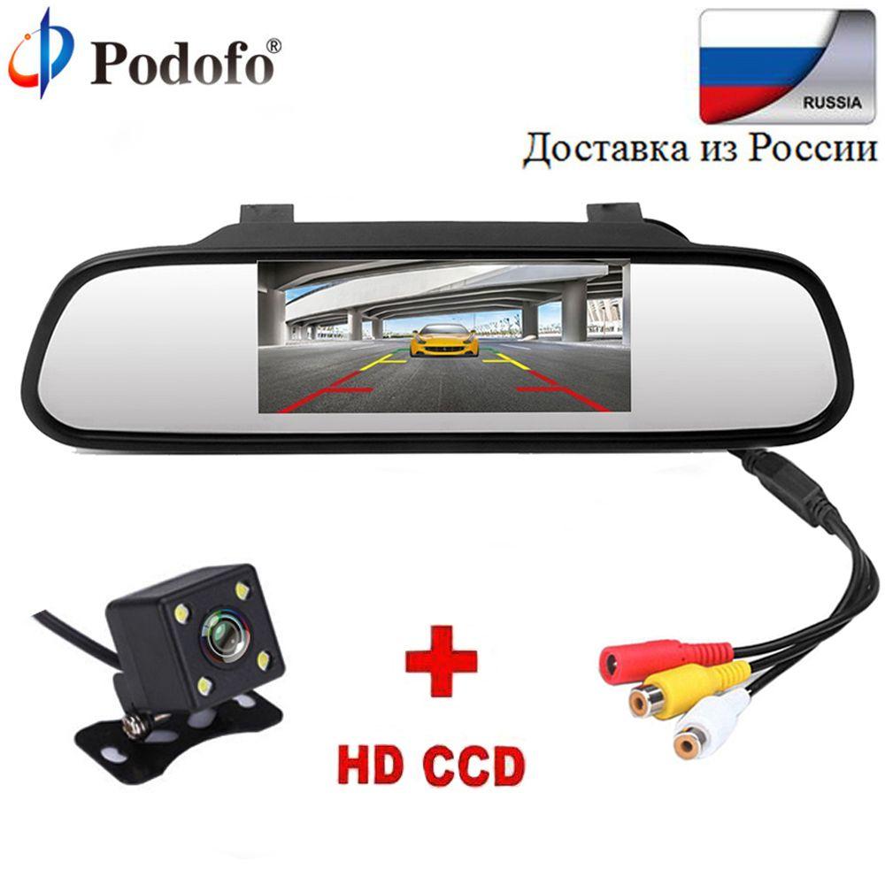 Podofo 4.3 Car <font><b>Rearview</b></font> Mirror Monitor Rear View Camera TFT-CCD Video Auto Parking Kit 4 LED Night Vision Reversing Car-styling