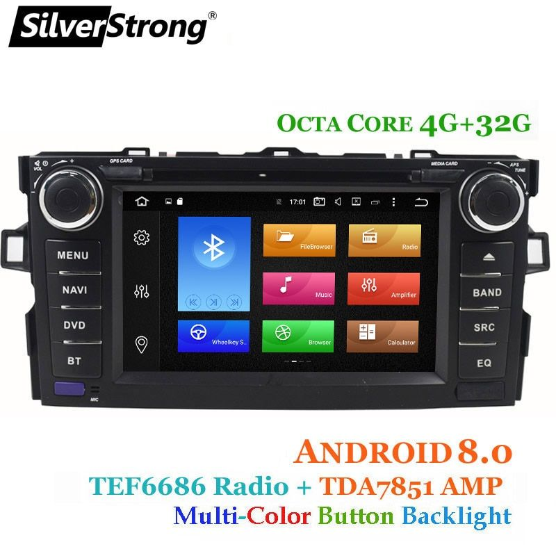 SilverStrong OctaCore Android8.0 2DIN Car DVD for Toyota Auris hatchback 4G 32G Car Radio GPS For Toyota Auris Car stereo