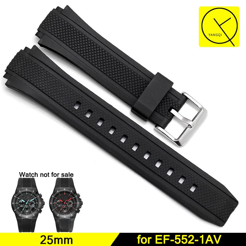 Silicone Bracelets Durable Stainless Pin Buckle Straps for Casio Edifice Series EF-552 Man Rubber Watchbands Black <font><b>25mm</b></font>+ Tool