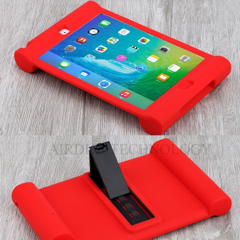 For <font><b>iPad</b></font> Mini 1/2/3 Retina Kids Safe Shockproof Rubber Silicone Case Stand Cover w/Kickstand