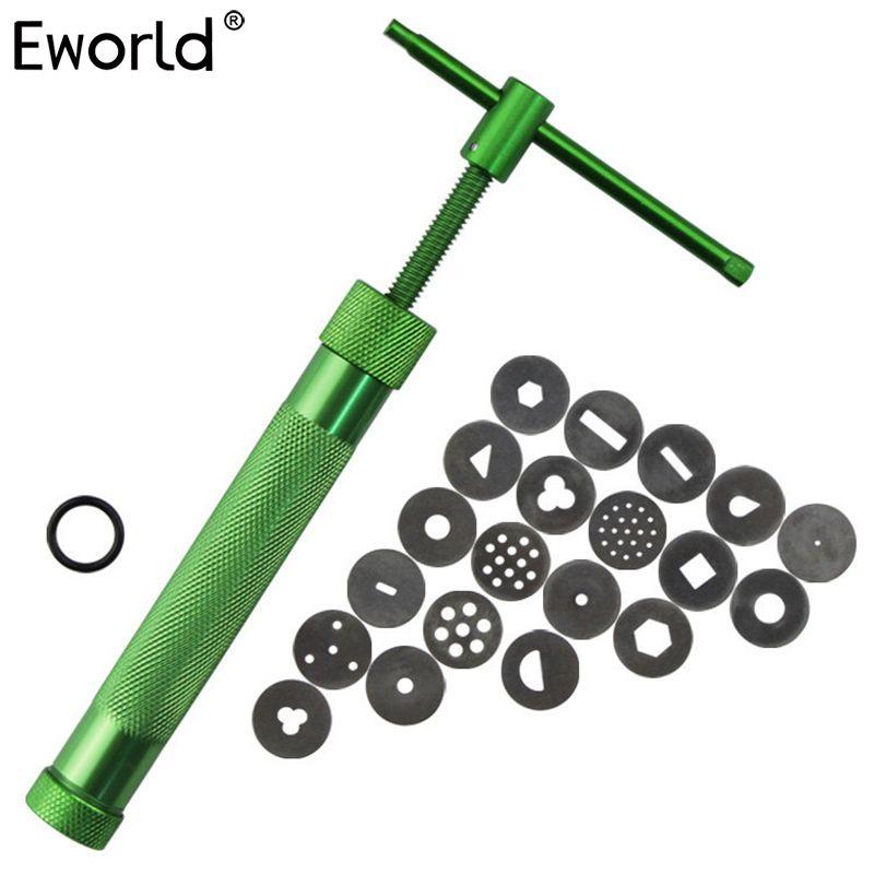 Eworld High Quality Green Clay Extruders Sculpture Gun Clay Sugar Paste Extruder Fondant Cake Sculpture Polymer Gun Baking Tool
