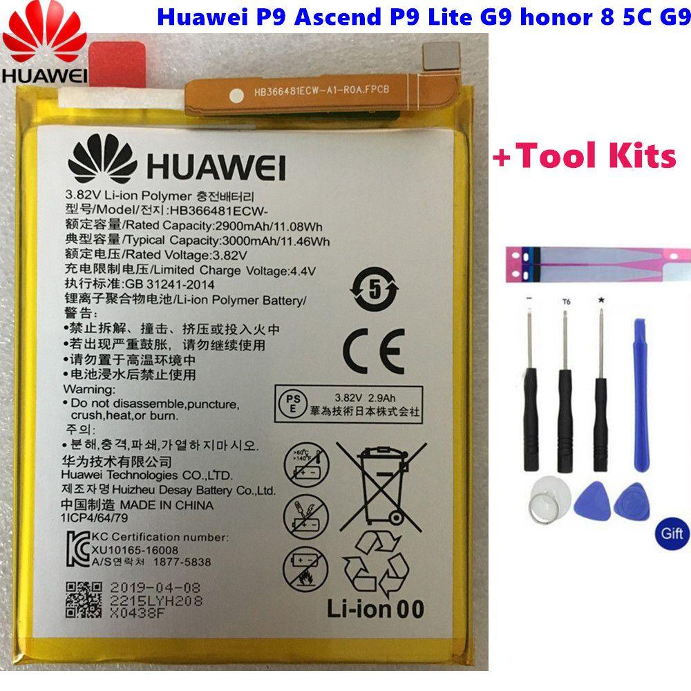 Hua Wei original Real 3000mAh HB366481ECW For Huawei p9/p9 lite/honor 8/p10 lite/y6 II/p8 lite 2017/p20 lite/p9lite battery+Tool