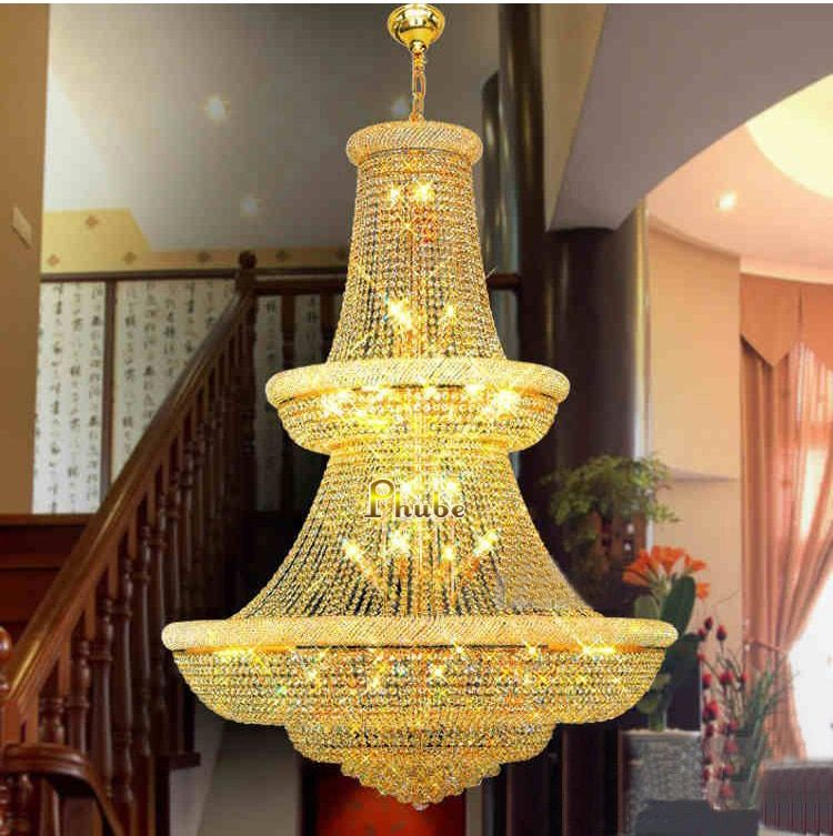 Top Quality!Large Crystal Chandelier light Fixture Gold Crystal Chandelier light Guaranteed 100%+Free Shipping!