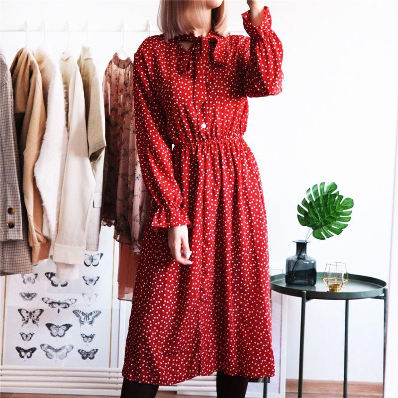 Femmes Robe En Mousseline De Soie Imprimée décontracté Femmes Élastique Wasit Vif Longueur Robe Vintage Volants À Manches Longues Chic Bouton Dames Robe