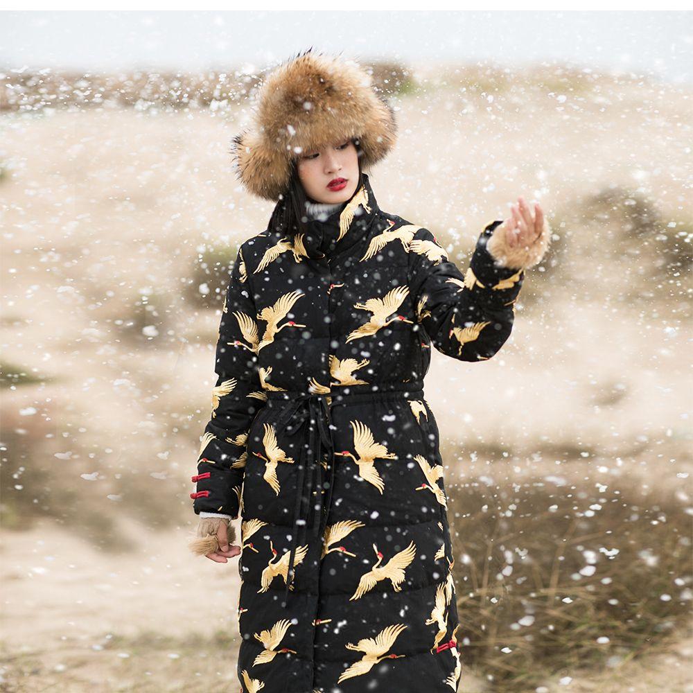 IRINAW749 new arrival 2018 vintage gold crane embroidered mesh black long winter coat jacket women