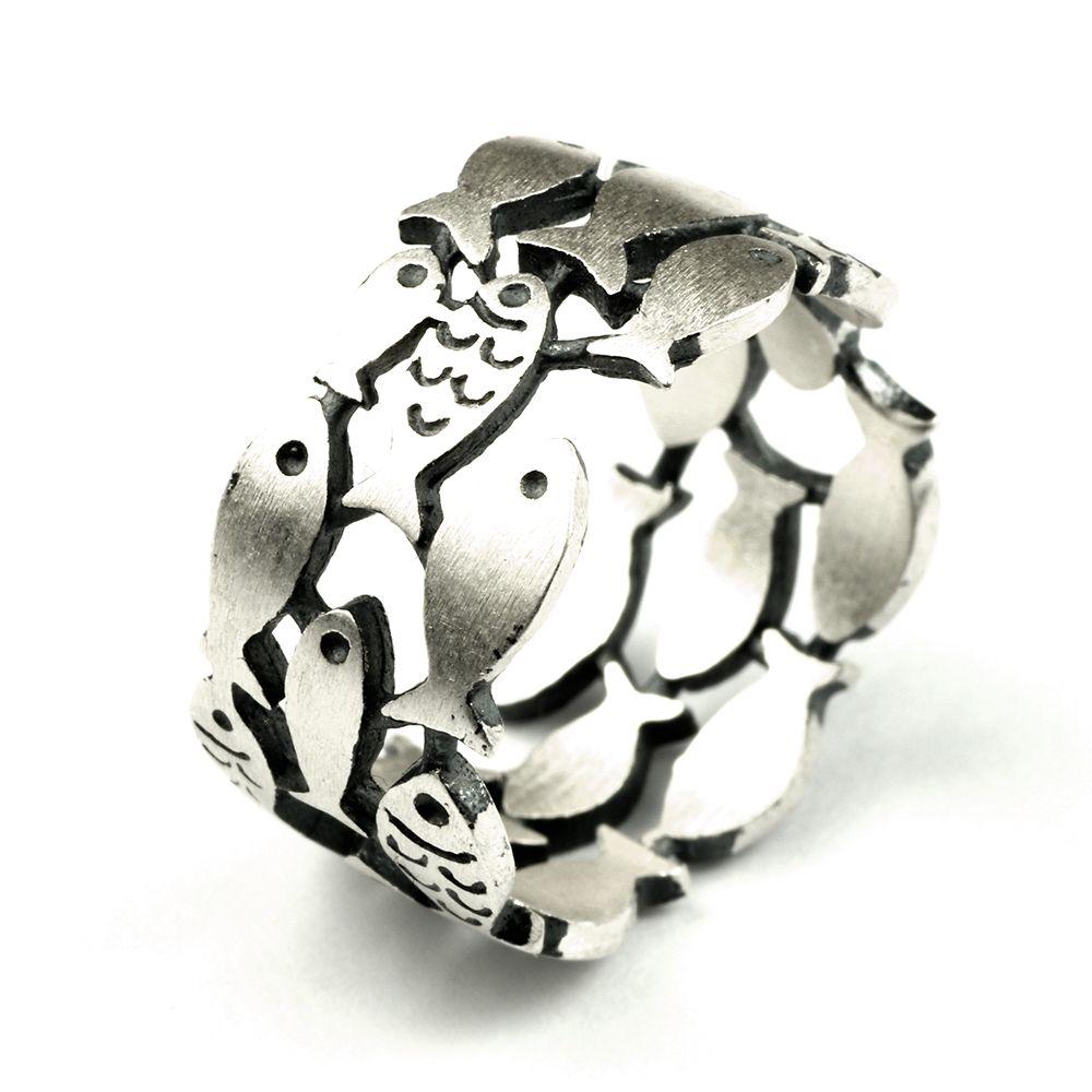 Гарантированная стерлингового серебра 925 три ряда с рыбой кольца для женщин античный матовая обработка Fine Jewelry