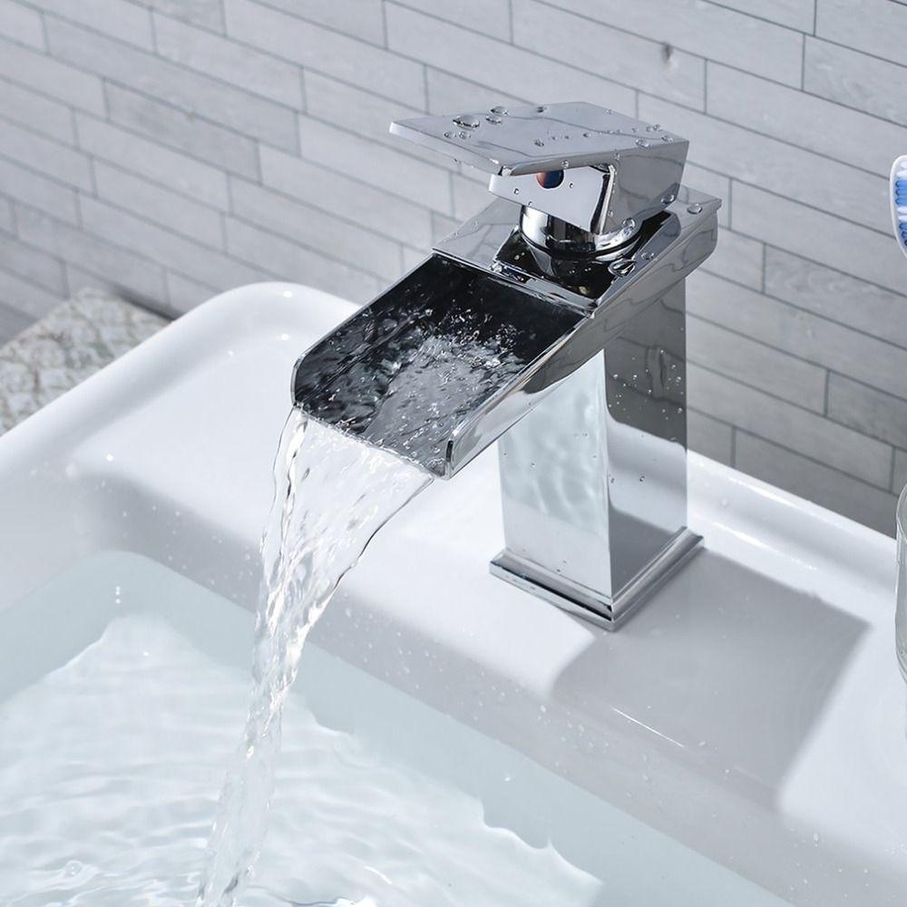 Platz Wasserfall Wasserhahn Anzapfung Waschbecken verchromung Poliert Badezimmer Wc Waschbecken Einlochmontage Wasserhahn Qualität