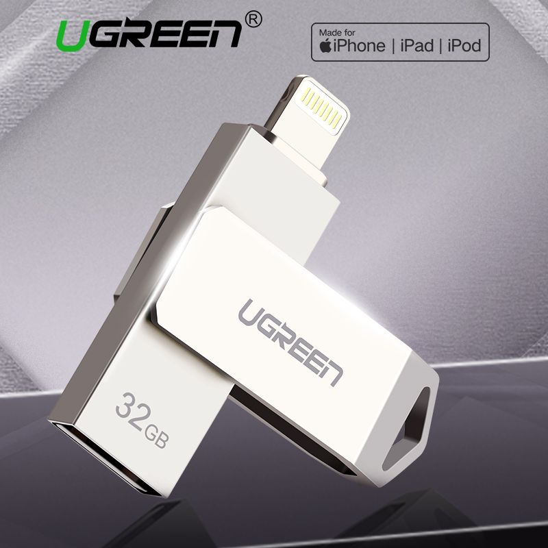 Ugreen USB Flash Drive 32 GB For iPhone X 8 7 6s 64 GB OTG USB Pendrive For Lightning iOS USB Flash Memory Stick 128GB Pen Drive