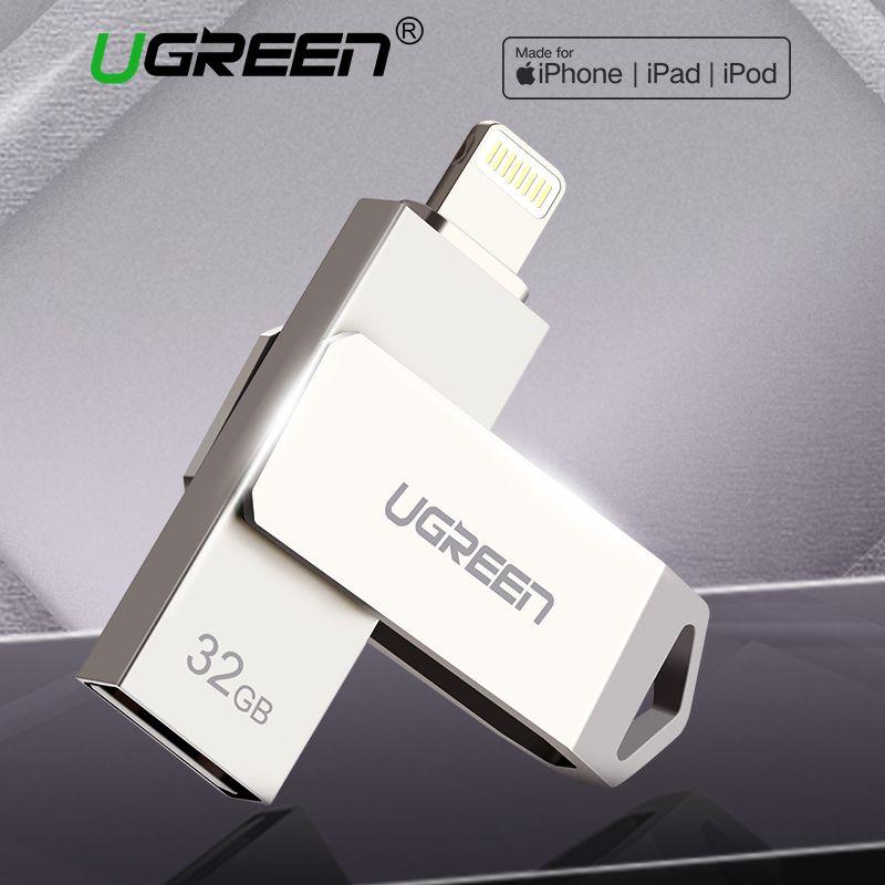 Ugreen USB Flash Drive 32GB 64GB For iPhone 8 7 Plus Lightning to Metal Pen Drive U Disk for MFi iOS10 memory stick 128GB