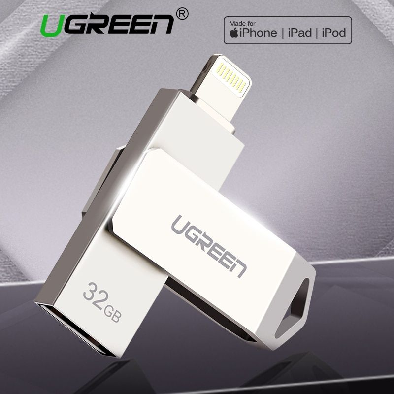 Ugreen USB Flash Drive USB 3.0 2.0 Pendrive for iPhone X/8/7 Plus iPad 16/32/64/128 GB MFi Pen Drive Memory Stick Key USB Flash