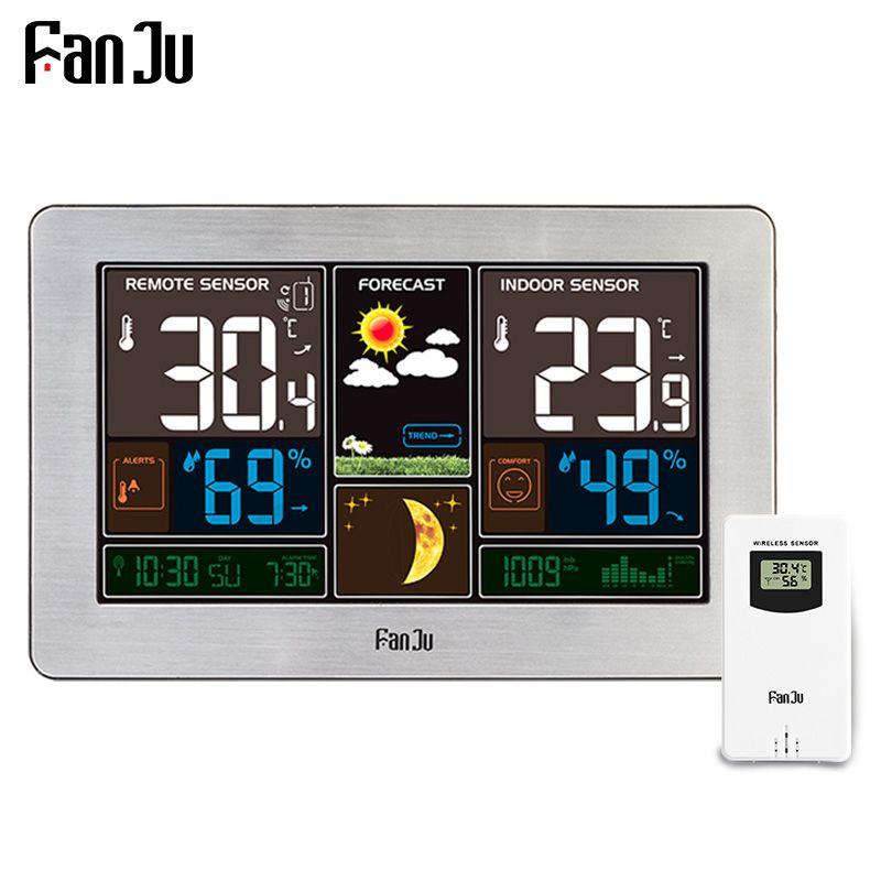 Fanju FJ3378Y метеостанции Температура влажность Беспроводной Сенсор Крытый Открытый гигрометр Moon Phase настенный Барометр Прогноз
