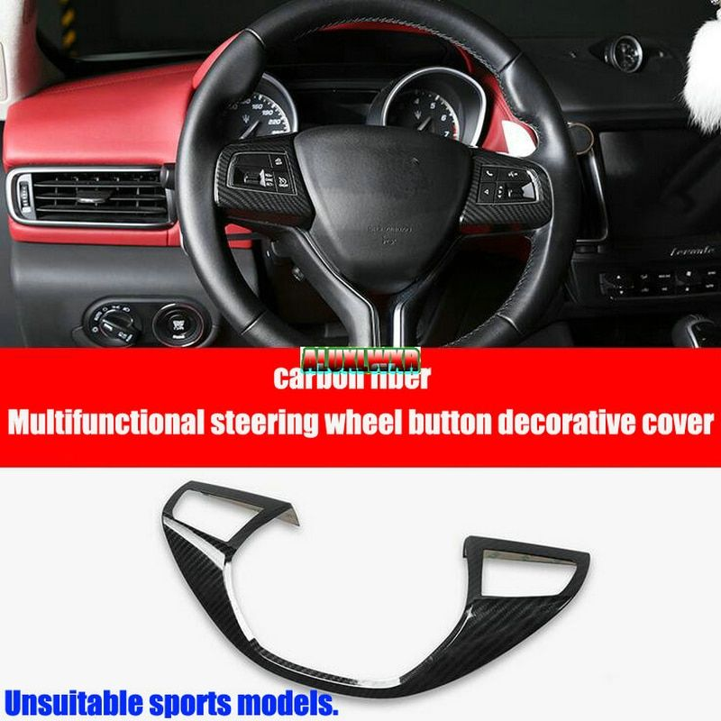 car-styling Carbon Fiber Steering Wheel Cover Trim Decoration For Maserati Levante 2016 2017 Ghibli 2014 to 2016 car Accessories