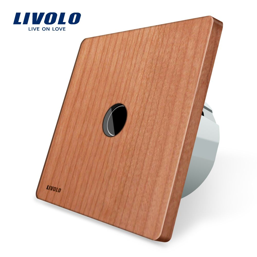 Livolo New Type Touch Switch, Cherry Wood Panel, Natural Style, 220~250V Touch Screen Wall Light Switch, VL-C701-21