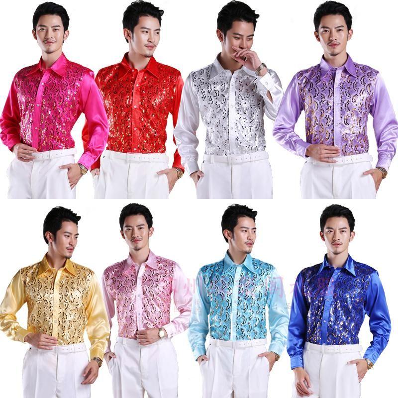 2017 neuen männer glitzernde pailletten shirt shirt stage performance clothing dance gala gehostet chorus shirts hohe qualität