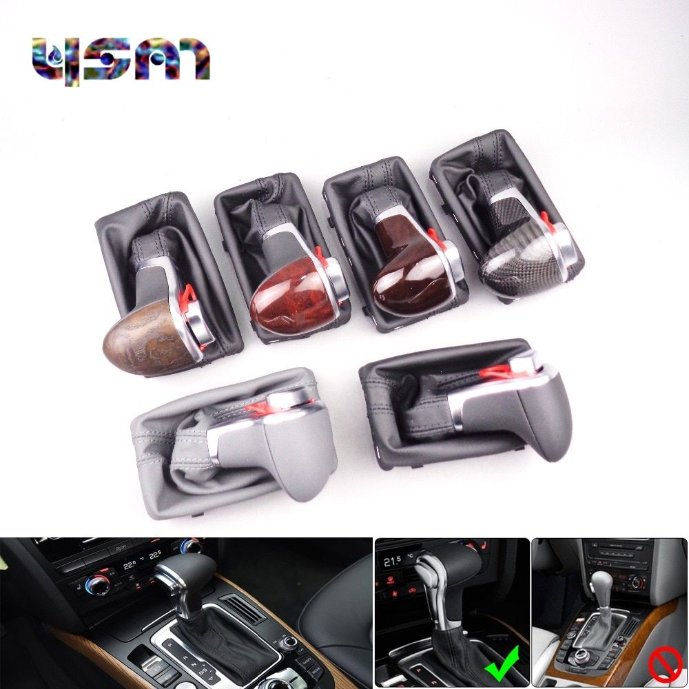 New Black Leather Chrome Gear Shift Knob AT Gaiter For Audi A3 A4 A5 A6 C6 Q7 8KD713139 8KD 713 139