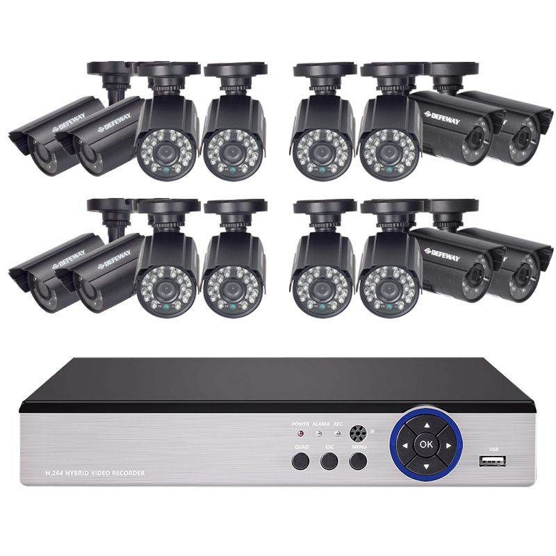 DEFEWAY 16CH 720P AHD DVR Kit 16 x720P 1200TVL Indoor Outdoor Video Security Camera 16 channel CCTV System with High Quality New
