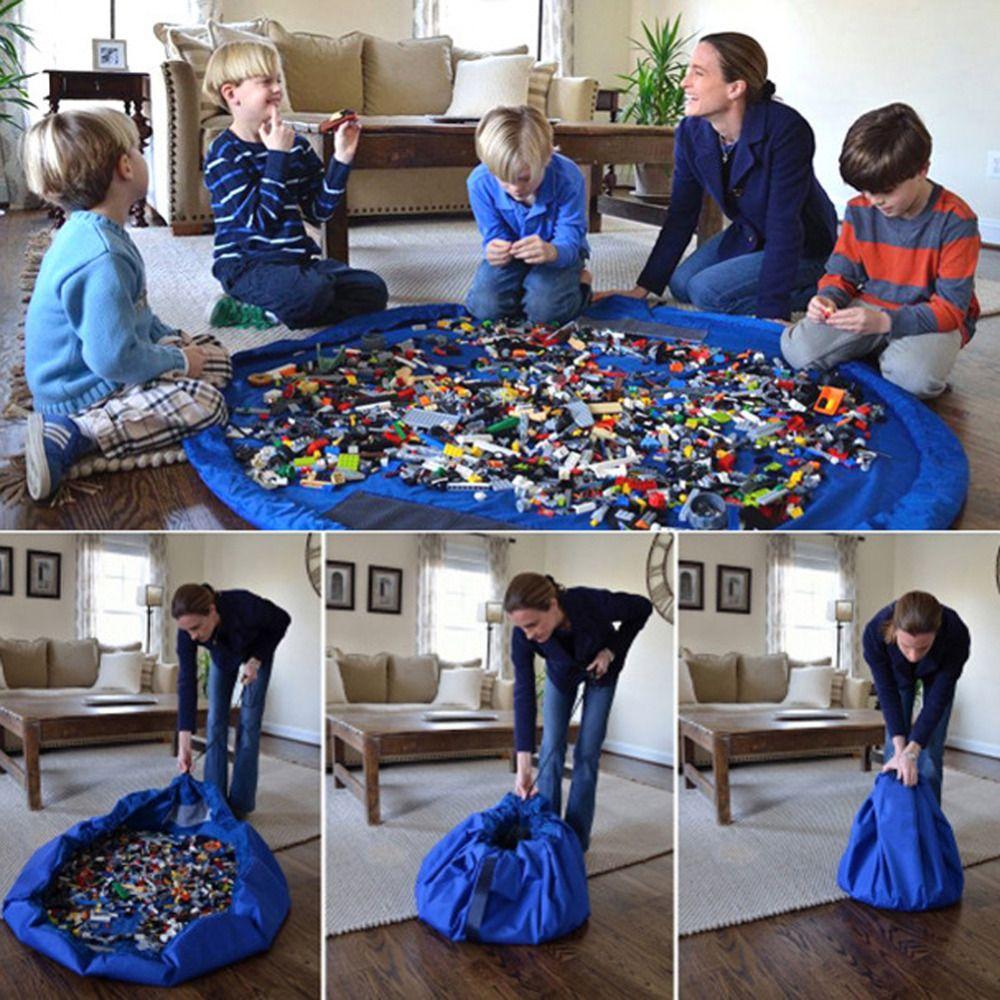 Портативный детские игрушки сумка для хранения и играть Коврик Lego Игрушечные лошадки Организатор бен Box XL Мода Практические Сумки для хране...