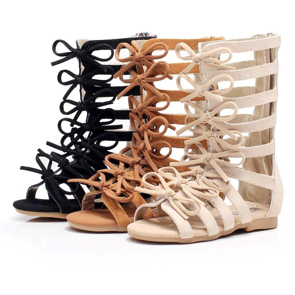 Haute qualité en cuir véritable enfants sandales d'été haut à la mode chaussures romaines enfants filles gladiateur sandales enfant en bas âge