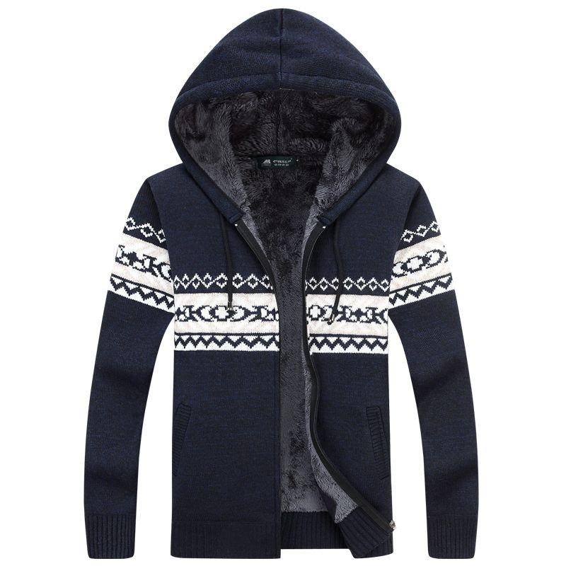 Hiver Chaud Épais Hommes Pulls/Casual Polaire Tricoté Chandail manteau Hommes Designer Cardigans À Capuchon Grande taille à 3XL