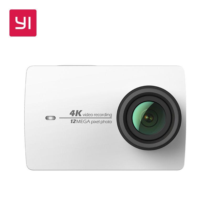 YI 4K Action Camera White Mini Sports Camera 2.19LCD Screen <font><b>Ambarella</b></font> 12MP CMOS EIS Wifi 155 degree International Version Model