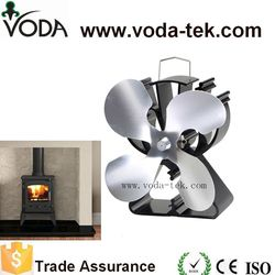 4 Blades Heat Powered Stove Fan (Nickel) Increase More 80% Warm Air  Than 2 Blades + For Wood/Log Burner /Fireplace-Eco Friendly