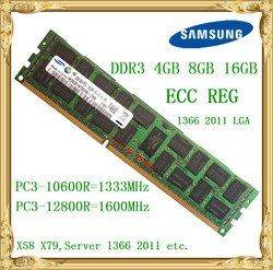 Samsung DDR3 4 ГБ 8 ГБ 16 ГБ памяти сервера 1333 1600 мГц ECC Reg DDR3 pc3-10600r 12800r регистрация rimm оперативная память X58 X79 использование материнской платы