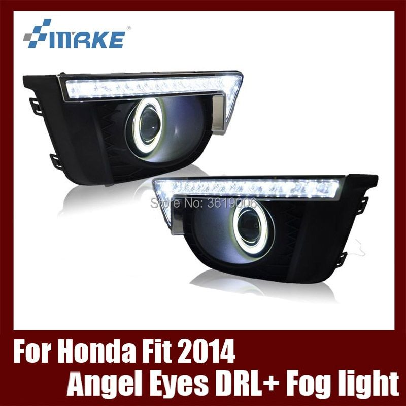 Fog Lamp Assembly LED Day Light COB Angel Eyes Foglight Daytime Running Light Lens Bumper Complete Set For Honda Fit 2014