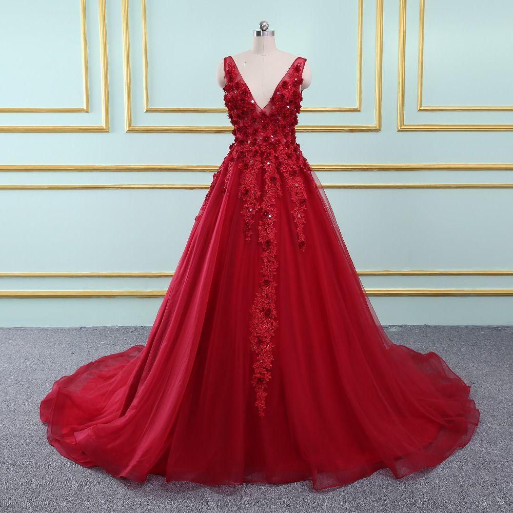 Prom Dresses Long 2018 Party Dresses burgundy prom Open Back Evening Dresses Prom Party Dress vestido de noiva Real Sample