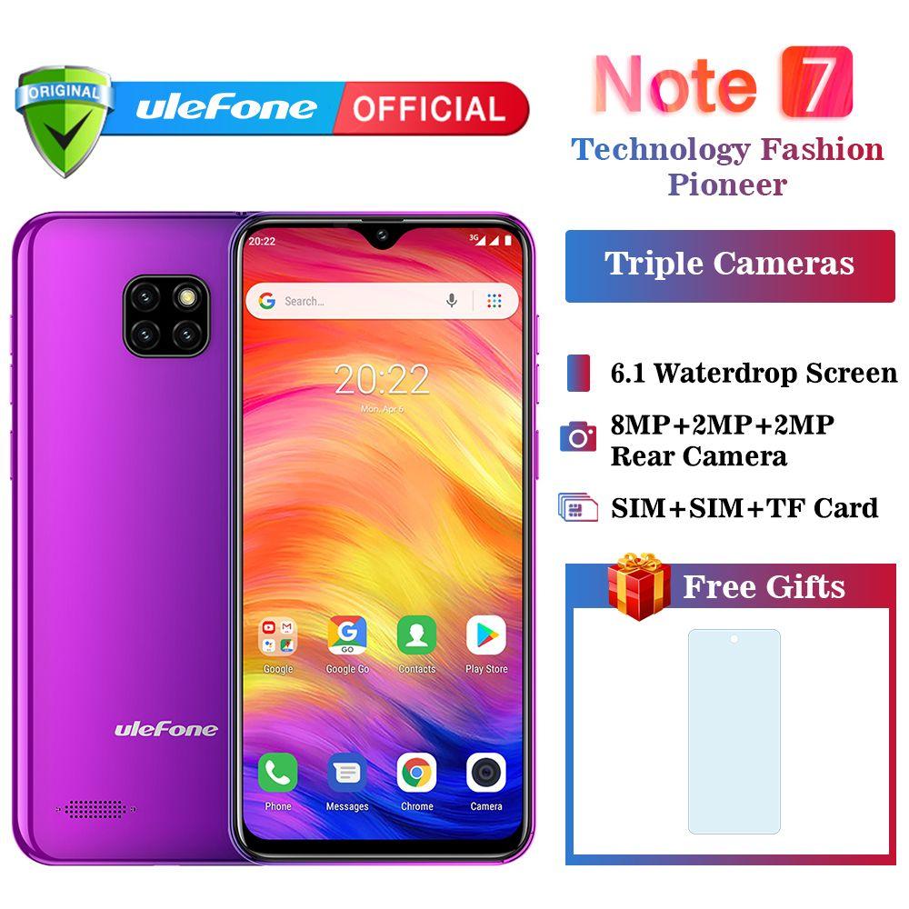 Ulefone Note 7 Smartphone 3500 mAh 19:9 Quad Core 6.1 pouces écran de goutte d'eau 16 GB ROM téléphone portable WCDMA téléphone portable Android8.1