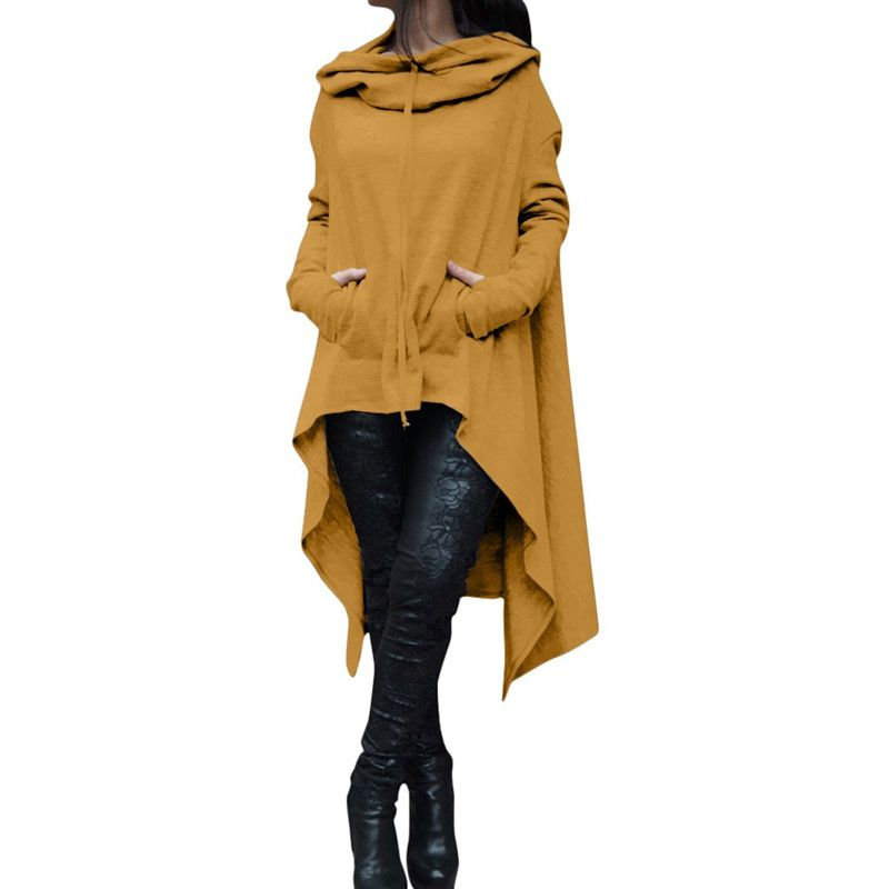 hoodies women Autumn and winter new European and European pure color long - cap hooded sweatshirt blouse with long sleeve p-jin